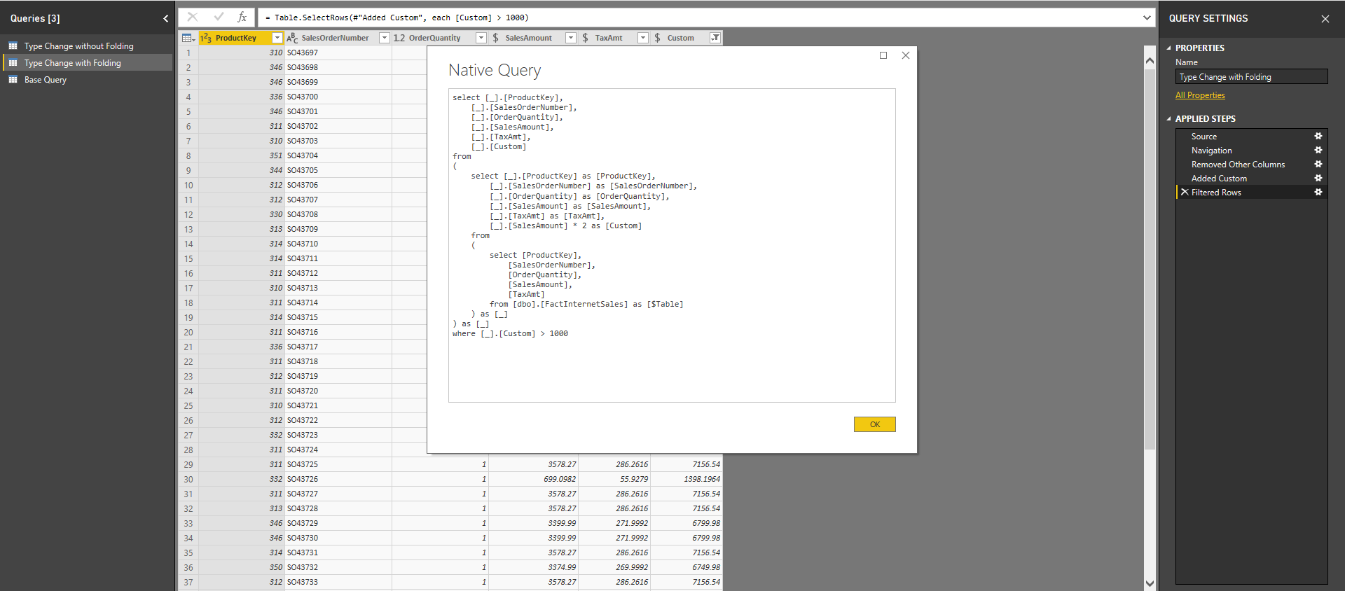 An example of the native query that can be seen within Power Query