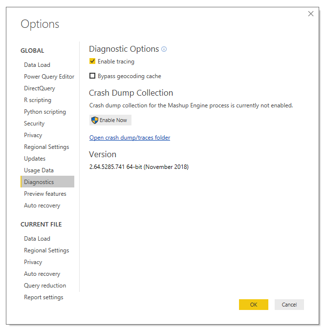 Power BI Options screen showing  the power quyer tracing option enabled